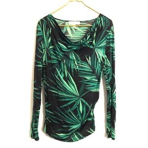[Michael Kors] Black/Green Palm Frond Blouse